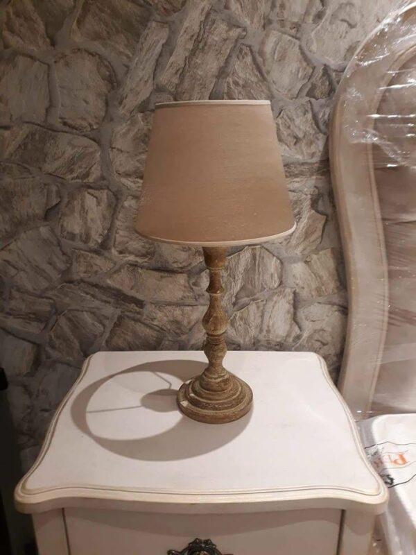 Lampe de chevet en bois avec abat-jour en tissu
