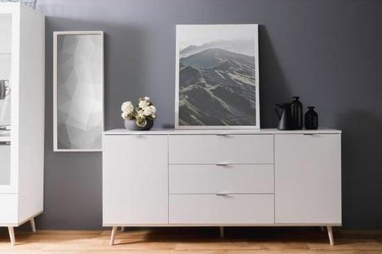 buffet bas style scandinave d cor ch ne et blanc l. Black Bedroom Furniture Sets. Home Design Ideas