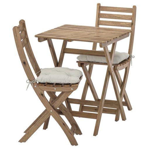 table+2 chaises, extérieur, teinté gris brun, Kuddarna gris