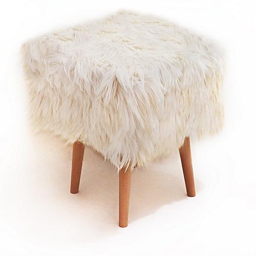Tabouret Scandy Cube chèvre - 40*40*45 cm - Blanc cassé
