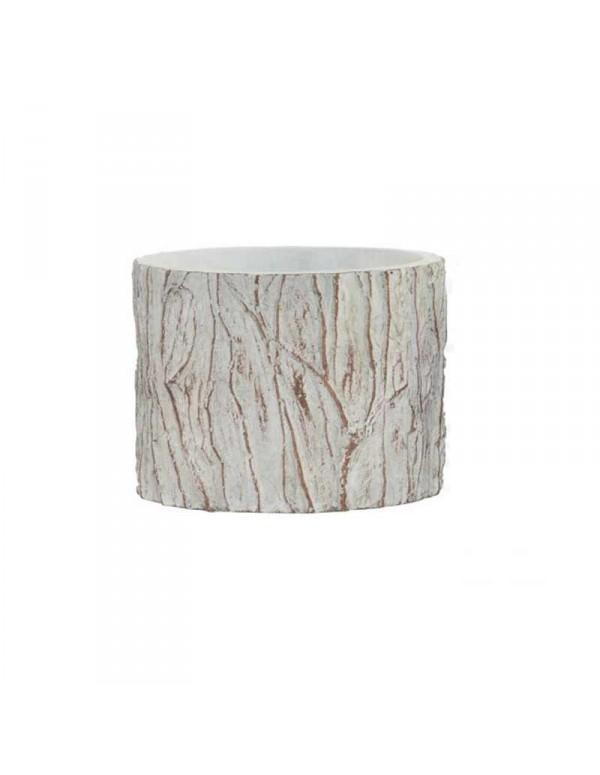 support-pot-de-fleurs-tronc-blanc-en-ciment-13x9-5-cm