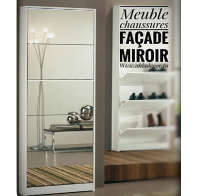 meuble-chaussures-façade-miroir-moderne