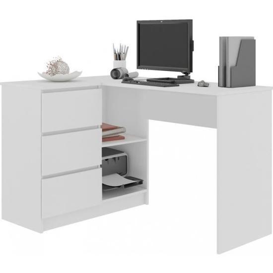 Sanda Bureau Informatique D Angle Moderne 124x85x77 Ahla Decor Meuble Decoration