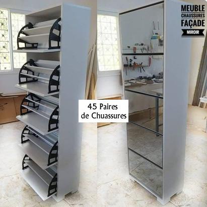 meuble-chaussures-45-paires-façade-miroir-tunisie-modèle-2021