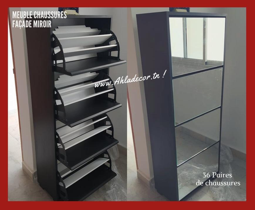 meuble-chaussures-façade-miroir-noir-tunisie-modèle-2021