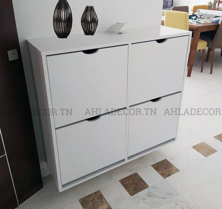 meuble-chaussures-entrée-suspendu-moderne-tunisie-blanc-mdf