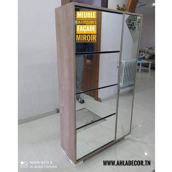 meuble-chaussures-miroir-moderne-tunisie-4-portes