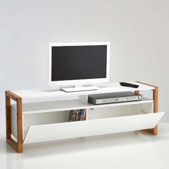 meuble-tv-balnc-pied-bois-rouge-moderne